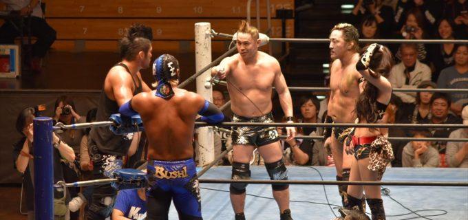【KAIENTAI-DOJO】 TAKA&タイチがSANADA&BUSHIを迎え撃つも撃沈!まだまだ物足りないと来年1月後楽園でロス・インゴ勢に再戦要求!!