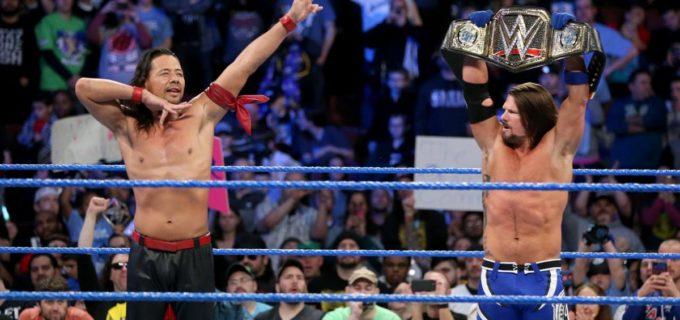 【WWE】中邑真輔、AJスタイルズとのドリームチームで快勝!「レッスルマニアでは、AJスタイルズにヒザを叩き込んで新WWE王者になる」と王座奪取を宣言!