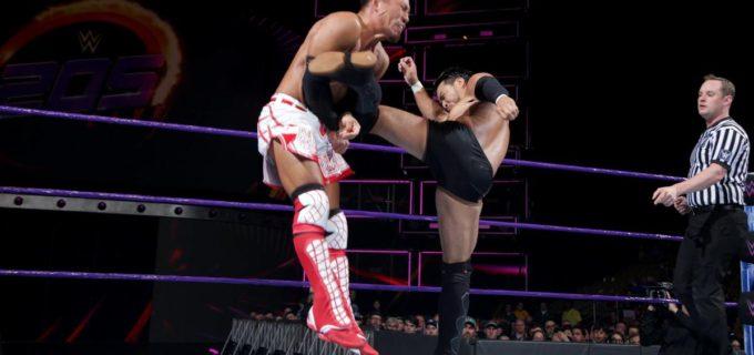 【WWE】ヒデオ・イタミと戸澤陽がついに激突!注目の日本人対決はヒデオがドラゴンスリーパーの体勢からヒザを叩き込んで3カウント奪取!!