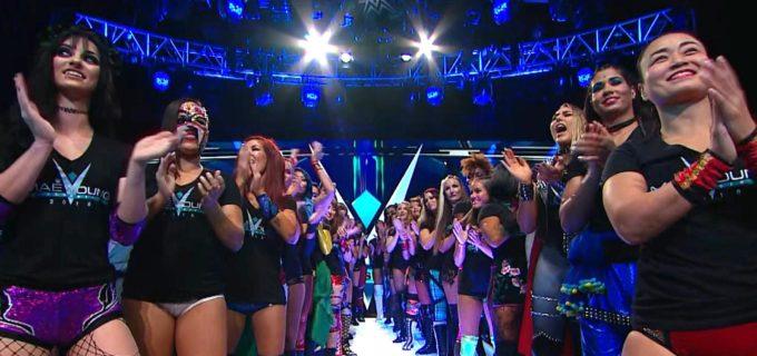 【WWE】紫雷イオ、里村明衣子、松本浩代がオープニングパレードに登場!メイ・ヤング・クラシック 2018が開幕!