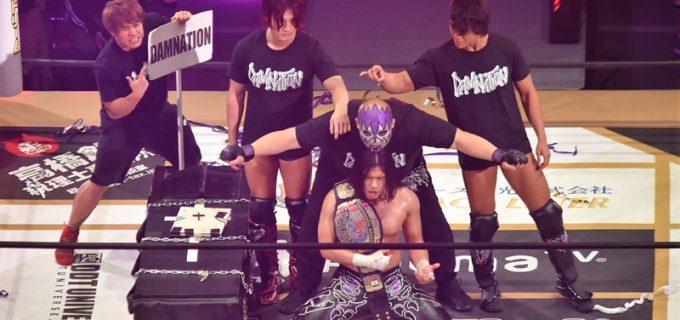 【DDT】アルティメット男色殺法をくぐり抜け、佐々木がKO-D無差別級王座奪取!ディーノを棺桶に葬り去り「男色ディーノは今日で終わりだ!」と宣言