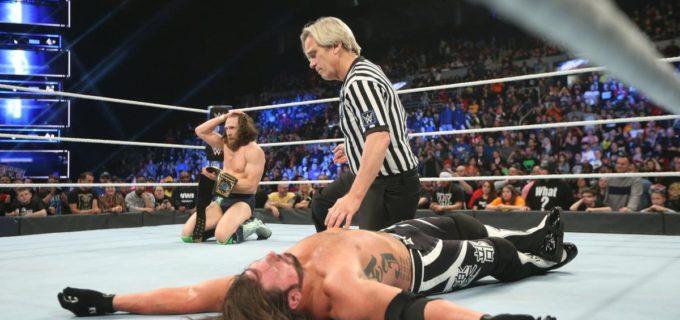 【WWE】急所攻撃でAJスタイルズを撃破!新WWE王者となったブライアンがユニバーサル王者レスナーと王者同士の決戦に挑む!!