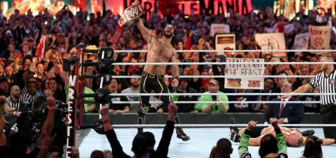 【WWE】<レッスルマニア35>ロリンズがカーブ・ストンプ3連発でレスナーに逆転勝利!