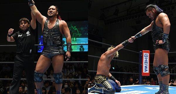 """【新日本】<Aブロック公式戦!>白熱の""""L・I・J""""同門対決は、EVILがSANADAに豪快勝利!"""