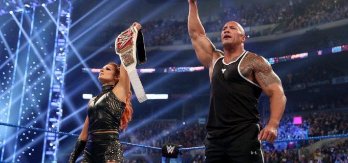 【WWE】ザ・ロックがSDにリターン!ロックボトムでコービンにお仕置き