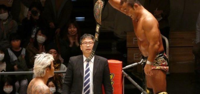 【DDT】田中将斗が竹下幸之介をエルボーで撃破、KO-D王座2度目の防衛に成功!坂口征夫が4.12後楽園で次期挑戦