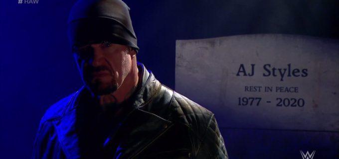 【WWE】アンダーテイカーが墓石前でAJスタイルズにRIP宣告