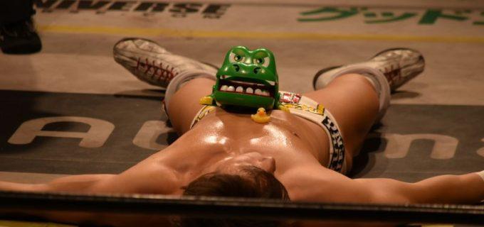 """【DDT】3.26 新木場「まっする2」第一部 """"5日後に負ける上野""""がヘル・インナ・ブルーシートでXに敗北"""
