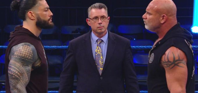 【WWE】「レッスルマニア36」で激突するユニバーサル王者ゴールドバーグとレインズが調印式に登場し睨み合い!