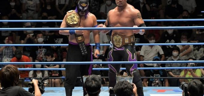 【全日本】ゼウス&イザナギがヤンキー二丁拳銃からアジアタッグ王座を奪取!イザナミがゼウスに感謝のメッセージ