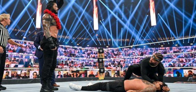 【WWE】レインズがタオル投入によりジェイとの従兄弟対決を制して王座防衛