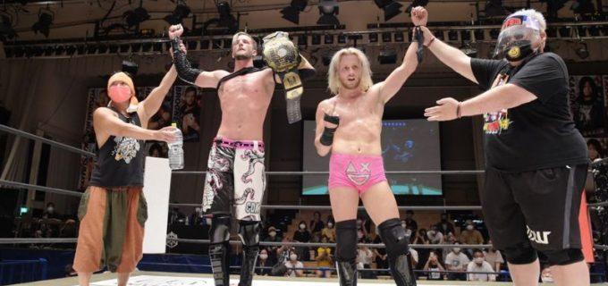【DDT】UNIVERSAL王座防衛のクリスがドリューとコンビを結成し9.27後楽園でKO-Dタッグに挑戦!