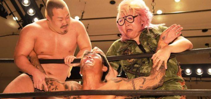 【DDT】KO-D6人タッグ王座戦は樋口&坂口&赤井の「イラプション」がV2に成功!パンスト兄弟に馬マスクで対抗