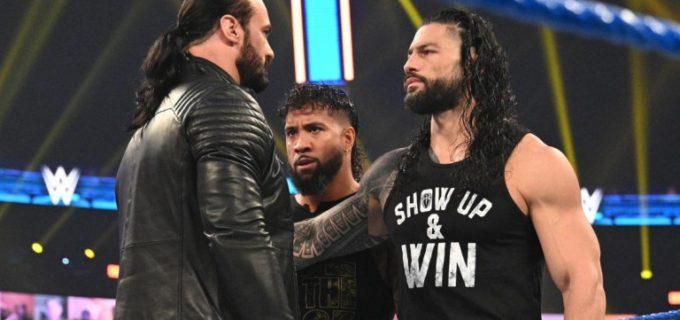【WWE】ユニバーサル王者レインズとWWE王座戦を控えるマッキンタイアが火花を散らす睨み合い