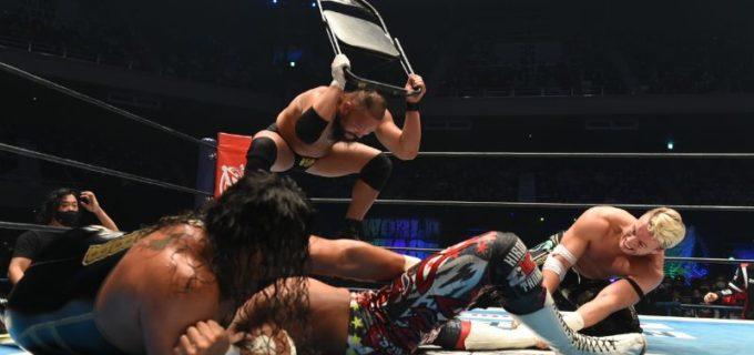 【新日本】オーカーンが棚橋の膝を非情攻撃で破壊!「棚橋、貴様の、心と膝が壊れてなければ、あともう一個、貴様が頭(こうべ)を垂れるなら、シングルで戦ってやる!」<12.11日本武道館>