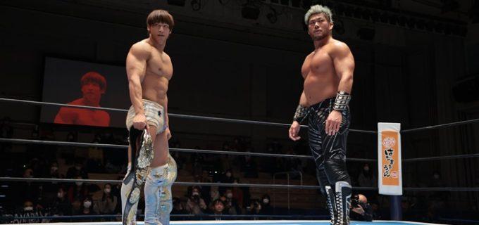 【新日本】飯伏とSANADAがIWGP二冠前哨戦でスパーク!前王者・内藤は「俺に負けた本間はもう論外だな。もう1人いるでしょ?」