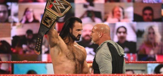 """【WWE】王者マッキンタイアと""""超人類""""ゴールドバーグがPPV「ロイヤルランブル」を前に睨み合い"""