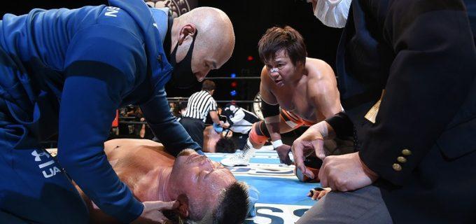 【新日本】THE EMPIREの逆襲がスタート!試合後、オーカーンが天山にTTDを見舞い担架送り!!