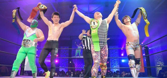 【DDT】第3代KO-D8人タッグ王座は青木組が奪取!平田は二冠王者となり青木も初のチームタイトル獲得!2.14 KAWASAKI STRONG 2021