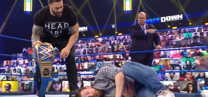 【WWE】王者レインズが特別エンフォーサーの座を奪取したエッジを襲撃