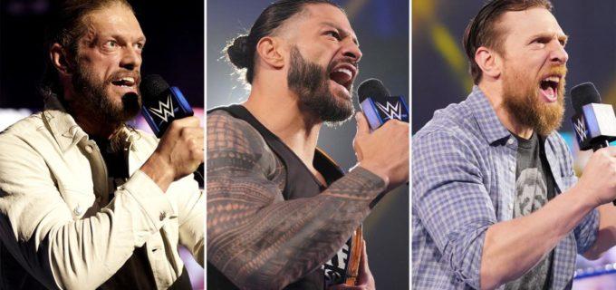 "【WWE】王者レインズ、RR戦覇者エッジ、""イエス男""ブライアンがWMに向けて最後のメッセージ"