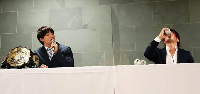 """【DDT】UNIVERSAL王者・上野勇希、""""飲酒""""の挑戦者・高尾蒼馬に通告!「メインで防衛して悔しい思いをさせてやる」"""