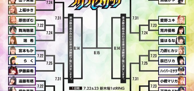 【東京女子】真夏の最強女王決定トーナメント『第8回東京プリンセスカップ』組み合わせ決定!