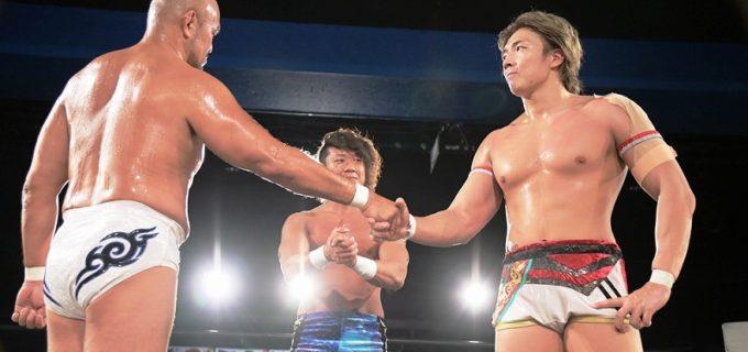 【DDT】タイトル2連戦を前によもやのタッグ結成の秋山準と竹下幸之介がともに絶好調ぶりをアピール!8・15後楽園でKO-Dタッグ戦、8・21川崎でKO-D無差別級戦へ