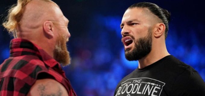 "【WWE】""ザ・ビースト""ブロック・レスナーが王者ローマン・レインズ&ウーソズを蹴散らして乱闘を制す"